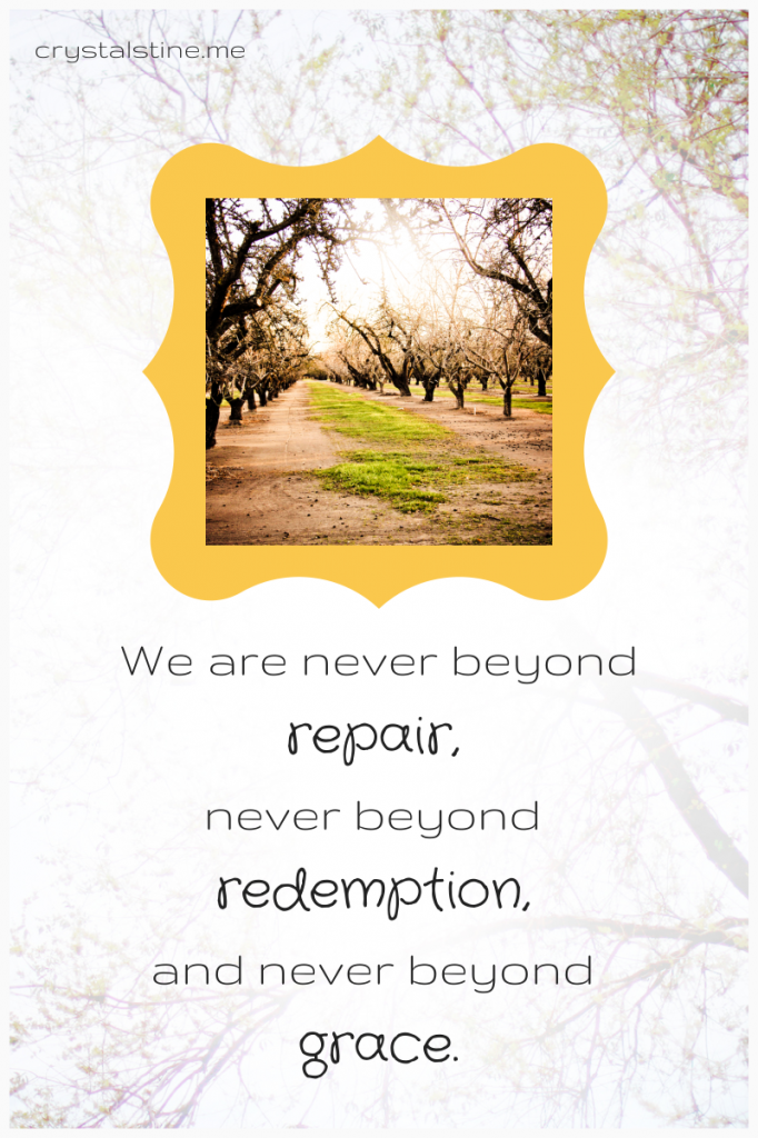 """We are never beyond repair, never beyond redemption, never beyond grace."" crystalstine.me"